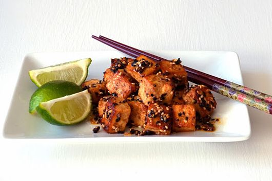 Hot Sesame Tofu with Sriracha and Fresh Lime