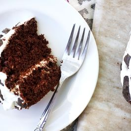 Chocolate-Studded Chocolate Cake with Vanilla Yogurt Frosting
