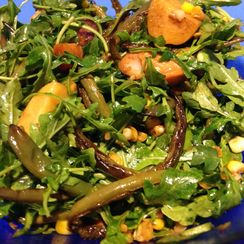 Wilted Arugula and Smoked Salmon or Scallop Salad for Dinner