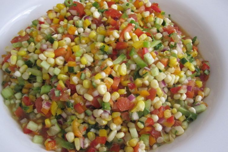 Colorful Fresh Corn Salad with Lime Vinaigrette