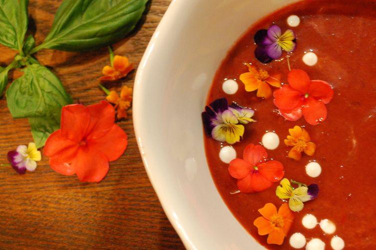 Grilled Plum Gazpacho