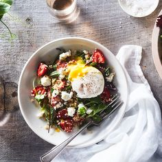 Strawberry and Quinoa Salad with Tarragon, Soft Goat's Cheese and Poached Egg
