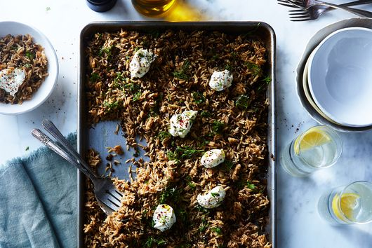 Crispy Roasted Shallot and Lentil Sheet-Pan Mujadara