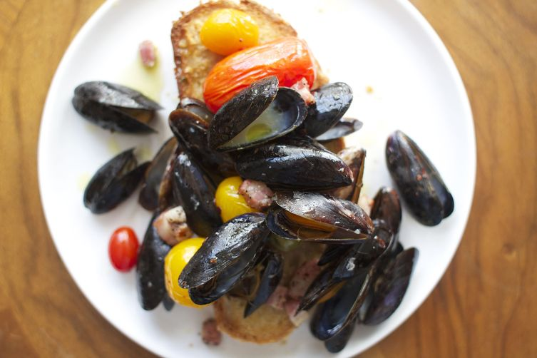 Roasted Mussels with Pancetta + Olives