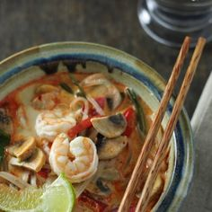 Thai Red Curry Soup with Prawns and Glass Noodles