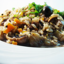 Aubergine and Mushroom Risotto