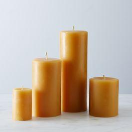 Round Beeswax Pillar Candles