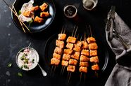 Salmon Kebabs with Radish Raita