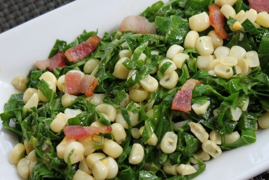 Sautéed Collards with Corn, Scallions & Bacon