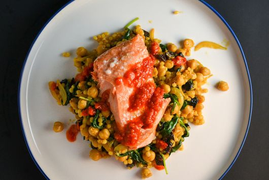 Spicy Salmon with Israeli Couscous & Chickpeas