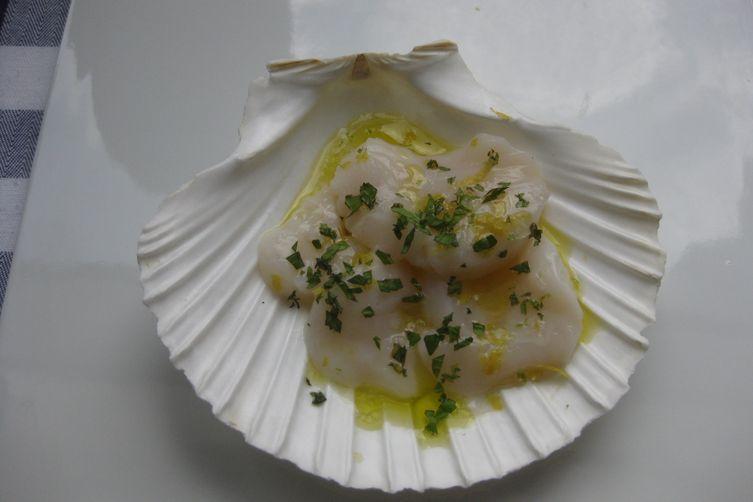 Scallop Crudo with Citrus, Mint and Sea Salt