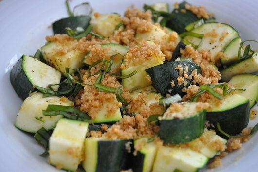Lemon Basil Roasted Summer Squash with Garlic Crisp