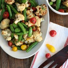 Cauliflower, snap peas and tomato salad