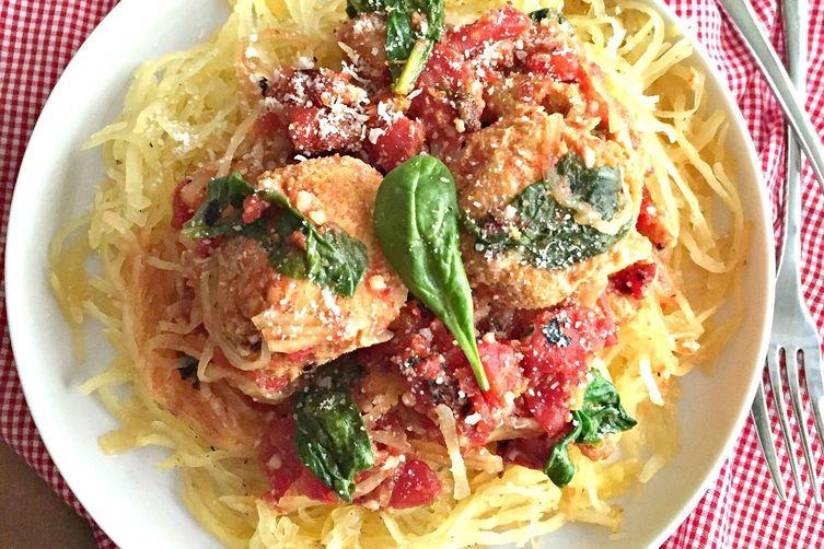 Turkey Veggie Meatballs With Spaghetti Squash
