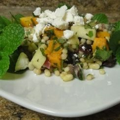 Lebanese Maftoul Couscous with Roasted Butternut Squash, Mint and Feta