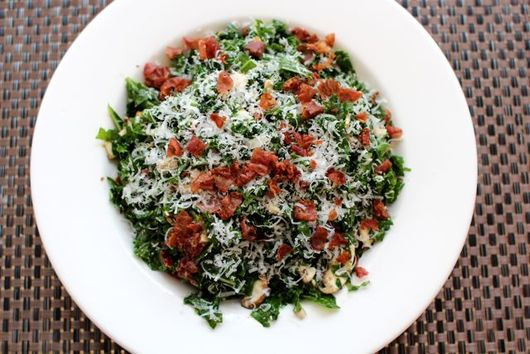 Addictive Raw Kale Salad with Crispy Prosciutto and Parmesan Cheese