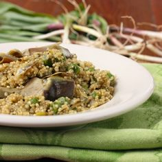 Spring Qunoa Pilaf with Ramps, Baby Artichokes and Peas