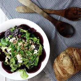 Beet salad, pine nuts and feta cheese with herbs