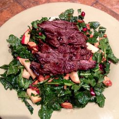 Kale, Pomegranate, Apple and Flank Steak Salad