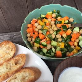 No-Cook, Summertime Chopped Veggie, Chickpea, and Basil Salad