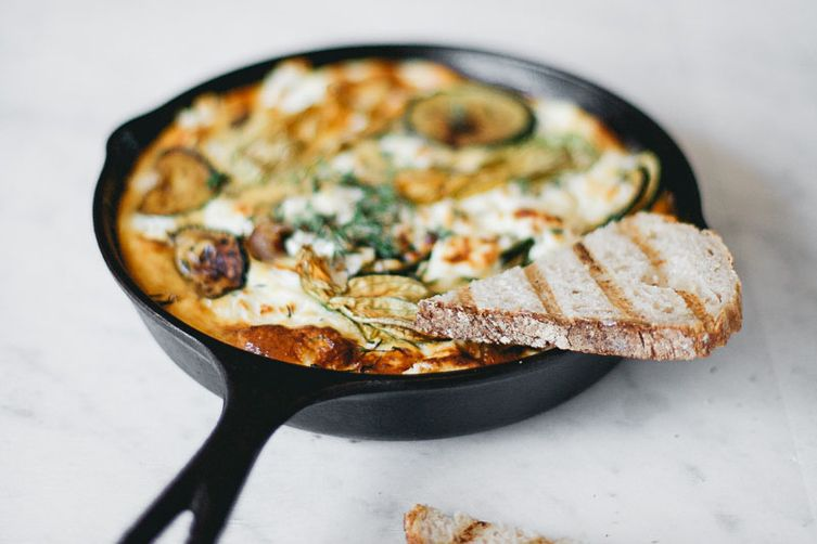 Zucchini Frittata with Caramelized Red Onion and Goat Cheese Recipe on ...