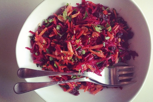 beet salad with carrot, ginger, raisin and almonds
