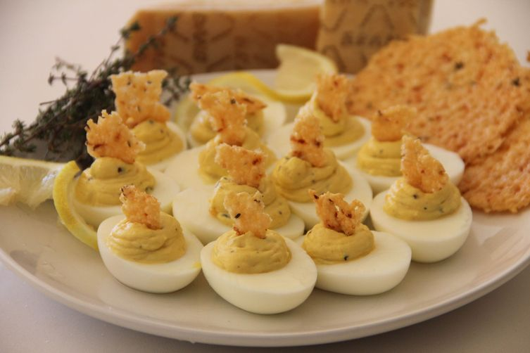 Lemon Thyme Deviled Eggs with Grana Padano Frico