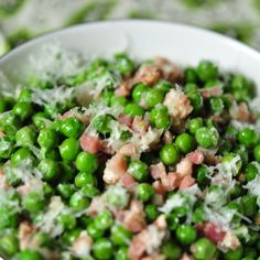 peas & pancetta with parmesan