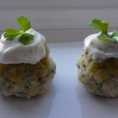 FISH CAKES TOPPED WITH CELERY RELISH & MAYONNAISE