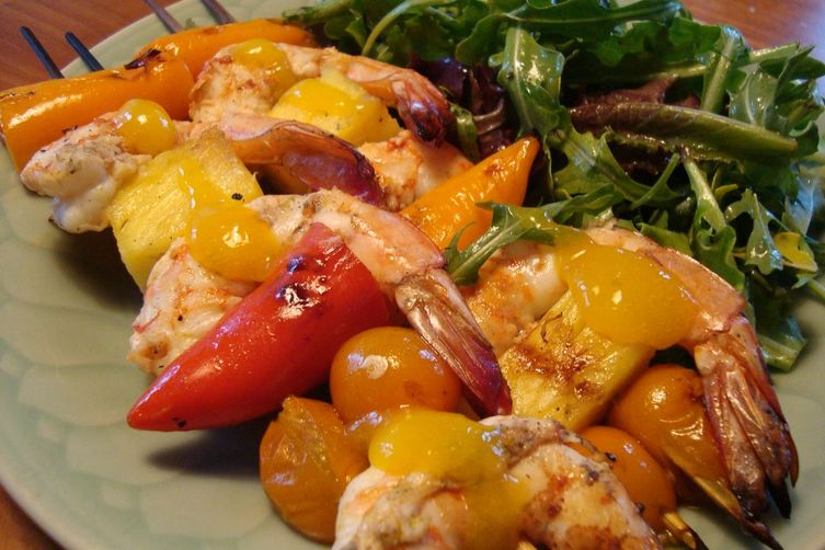 Grilled Shrimp Kebobs with Mango Lime Sauce