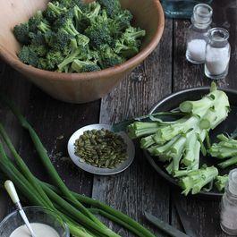Broccoli Salad with a Mustard Vinaigrette & Roasted Pumpkin Seeds
