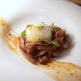 Coffee Noodles, Poached Egg, Bacon Coffee Compote