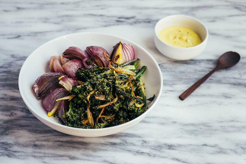Roasted Broccoli and Red Onions with Caramelized Shallots and Aioli