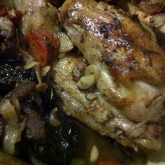 Roasted Chicken with Almonds, Apricots and Cognac