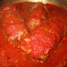 Braciole (bree-zshole)...Italian stuffed & rolled flank steak