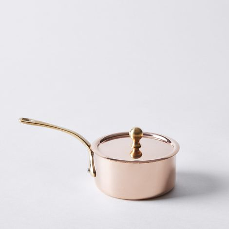 de Buyer French Copper Mini Saucepan with Brass Handle