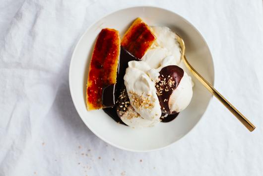 Hot Fudge Sundae with Brûléed Bananas and Salty Sprinkles