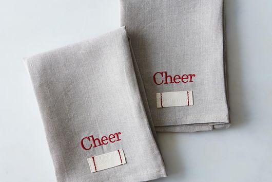 Stitched Holiday Heirloom Tea Towels (Set of 2)