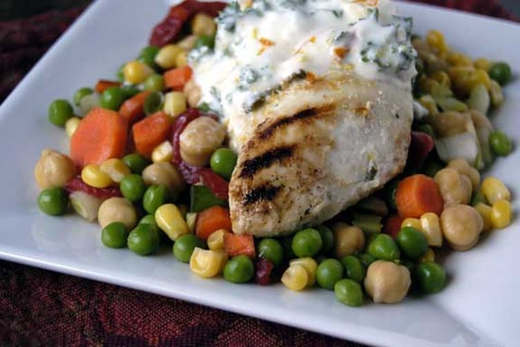 Greek Chicken with Herbed Yogurt Sauce