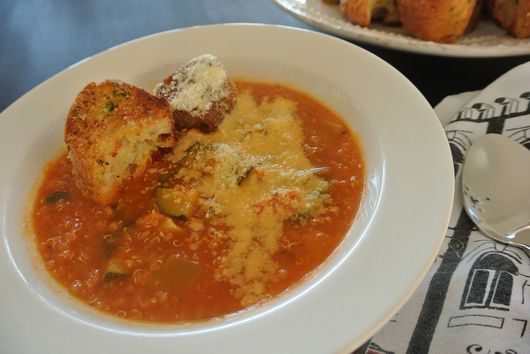 Tuscan Vegetable & Quinoa Minestrone Soup with Rustic Pesto Ciabatta Croutons