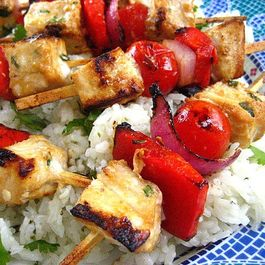 Tamari Citrus Marinated Swordfish Kabobs with Tomatoes, Onions and Peppers