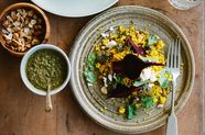Spiced Millet Pilaf with Beetroot, Feta + Mint