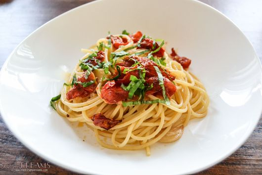 Spaghetti with Garlic Chili Oil and Roasted Cherry Tomatoes