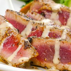 Pepper Crusted Seared Ahi Tuna with Tahini Sauce