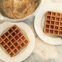 Waffles with Artichoke Creme and Prosciutto