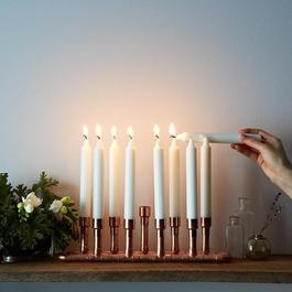 Industrial Style Menorah Copper Candle Holder