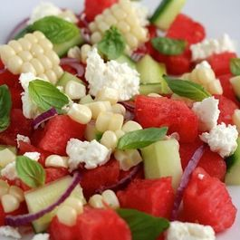 Cucumber, Watermelon, and Roasted Corn Salad