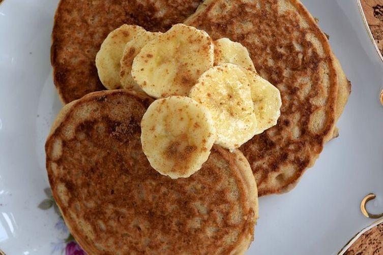 Caramelized Banana Pancakes with Maple Banana Mousse