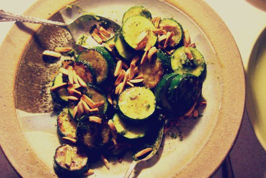 Pan Seared Zucchini with Pesto and Toasted Almonds