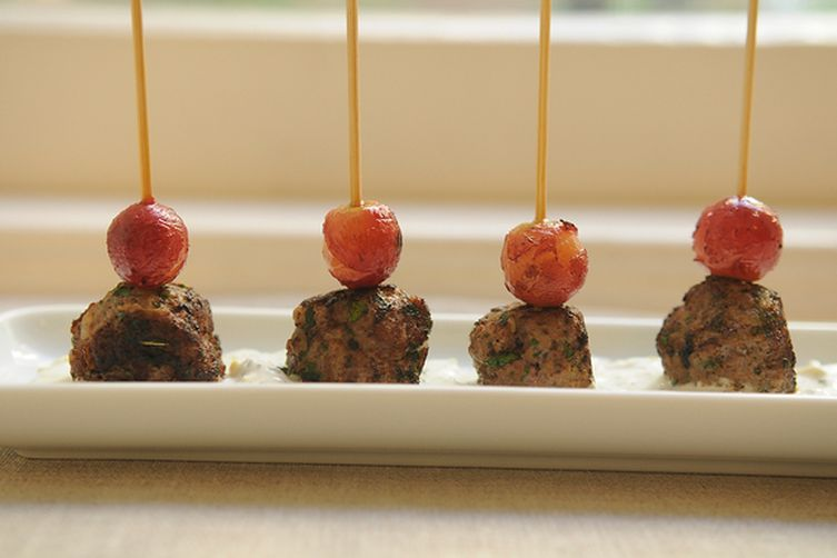 Kefta-Style Meatballs with Grilled Grapes and Yogurt Sauce Recipe on ...
